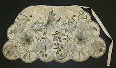 Apron, silk embroidered with silk and metallic thread, c.n 1740, British.