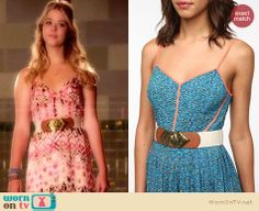 Alison's printed maxi dress and white bow wedges on Pretty Little Liars.  Outfit Details: http://wornontv.net/33465/ #PLL