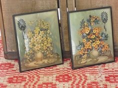 Bubble Frames, Reverse Painted, Floral Silhouette with Convex Glass, Set of 2, 8 am Spring Flowers, 4 pm Fall Flowers, Mid Century Modern by AgsVintageCove on Etsy