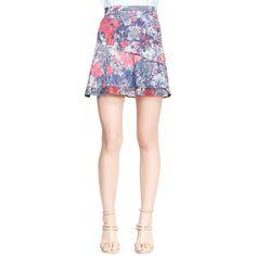 Nonoo Printed Asymmetric Flare Skirt ($79) ❤ liked on Polyvore featuring skirts, jardin, flounce hem skirt, reversible skirt, pink skirt, nonoo and pink asymmetrical skirt