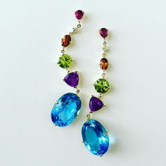 Playful long drop earrings with Tourmaline, Diamond, Citrine, Peridot, Amethyst & Topaz stones. #bling www.johnmeierfinejewelry.com