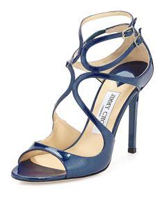 7e98e96d58bd Jimmy Choo Lace Glitter Patent Strappy Sandal