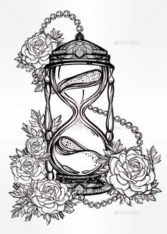 Hand Drawn Design Of Hourglass With Roses.