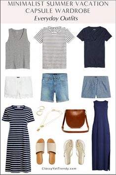 Capsule Outfits, Fashion Capsule, Fashion Outfits, Women's Fashion, Stylish Summer Outfits, Cute Outfits, Summer Vacation Outfits, Vacation Packing, Vacation Ideas