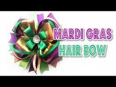 Mardi Gras Hair Bow Tutorial Diy Bow, Diy Hair Bows, Mardi Gras Decorations, Mardi Gras Costumes, Hair Bow Tutorial, Kids Hair Accessories, Handmade Flowers, Flower Making, Pretty Hairstyles