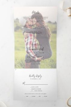 Minimalist Faded Photo All In One Wedding Tri-Fold Invite. Click to customize with your picture and personalized details today. Fall Wedding Invitations, Beautiful Wedding Invitations, Zazzle Invitations, Invitation Design, Invite, Letter Folding, Stationery Paper, Tri Fold, Autumn Wedding