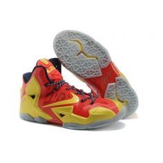 Lebron 11 2013 NBA Champion Elite Red Gold White Basketball Shoes On Sale