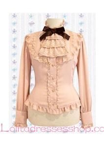 Sweet Princess Pink Cotton Stand Collar Lace Trim Lolita Blouse