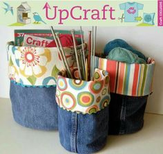 Recycle old jeans into bins! How cool!