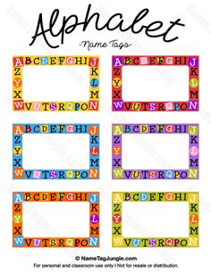 Free printable alphabet name tags. The template can also be used for creating items like labels and place cards. Download the   PDF at http://nametagjungle.com/name-tag/alphabet/                                                                                                                                                                                 More