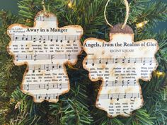 Christmas Music Ornaments, Christmas Hymn Ornaments, Sheet Music Ornaments, Rustic Ornaments, Wooden Ornaments, Angel Ornaments by AtHomeWithWords on Etsy https://www.etsy.com/listing/469467132/christmas-music-ornaments-christmas-hymn More
