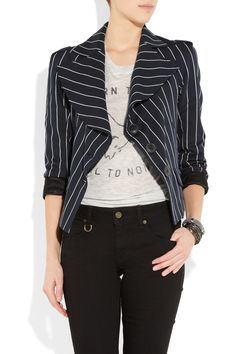 Vivienne Westwood Anglomania - Striped Cotton-blend Jacket $685. I like the jacket and pants, but not the shirt underneath. It distracts from the look, overall.