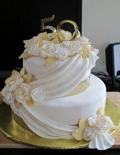 "Anniversary cake I like the ""drape"" 50th Wedding Anniversary Cakes, Wedding Aniversary, Golden Anniversary, Anniversary Parties, Wedding Cakes, Anniversary Ideas, Parents Anniversary, Rodjendanske Torte, 50th Cake"