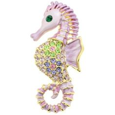 Pink Violet Seahorse Pin Swarovski Crystal Aquatic Pin Brooch Fantasyard. $18.59. Other color available. Gift box available for an additional fee. Please check out through gift-wrap option. Exquisitely detailed designer style