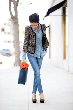 Love the denim on denim with the mismatched prints