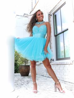 LACE & DIAMONDS 💎 what more could you ask for?! 😍 Aqua Prom Dress, Blue Homecoming Dresses, Sequin Prom Dresses, Pageant Dresses, Mermaid Dresses, Aqua Dresses, Short Graduation Dresses, Dresses Short, Sexy Dresses