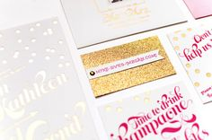 Oh So Beautiful Paper: Megan + Mike's Whimsical Pink and Gold Confetti Wedding Invitations (I like the website business card)