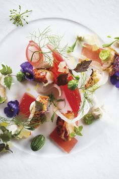 John Horne's Yarmouth lobster with watermelon, licorice mascarpone & pickled rind.