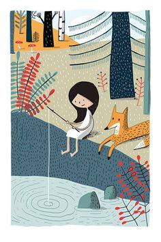 À la pêche, a signed art print by Elise Gravel
