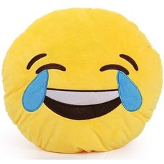 Round Oi Emoji Smiley Emoticon Cushion Pillow Stuffed Plush Toy Doll Yellow(tears of Happiness+free Transformers Key Chain)
