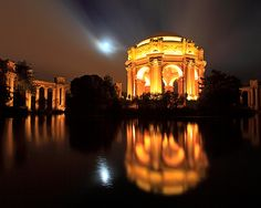 Palace of Fine Arts and Full Moon by Rob Kroenert, via Flickr