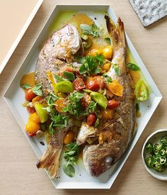 Australian Gourmet Traveller recipe for snapper Veracruz. his is a fresh take on a popular Mexican dish. The tomatoes are added just at the end to keep the flavours fresh and bright. Snapper Recipes, Fish Recipes, Seafood Recipes, Gourmet Recipes, Mexican Food Recipes, Cooking Recipes, Dinner Recipes, Healthy Recipes, Ethnic Recipes