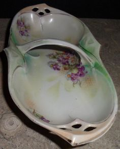 Vintage Hand Painted Violets Daisy Candy Dish Bowl Finger Handle Germany IPF