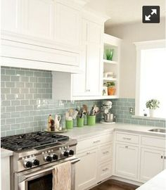 There is no question that designing a new kitchen layout for a large kitchen is much easier than for a small kitchen. A large kitchen provides a designer with adequate space to incorporate many convenient kitchen accessories such as wall ovens, raised. Backsplash For White Cabinets, White Kitchen Cabinets, Kitchen Backsplash, Backsplash Ideas, Marble Counters, Green Cabinets, Kitchen Counters, Metro Tiles Kitchen, Smart Tiles Backsplash