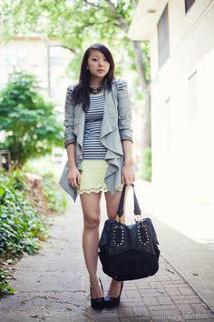 waterfall blazer + yellow lace skirt. #fashion