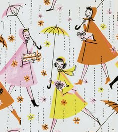 Vintage gift wrap, but I'd try to get enough for wallpaper in the right application...a little girl's bath or playroom~