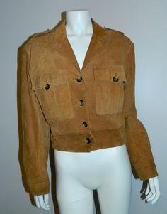 vintage 1980s rust suede jacket BANANA REPUBLIC Safari cropped leather – Retro Trend Vintage