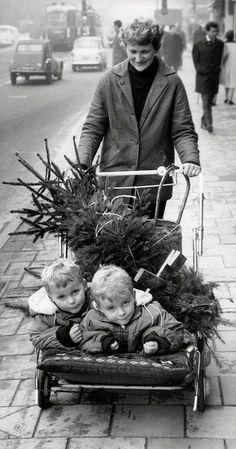 Vintage Mom with Kids + Christmas Tree + Merry Christmas Vintage Christmas Photos, Retro Christmas, Christmas Images, Vintage Holiday, White Christmas, Christmas Scenery, Simple Christmas, Christmas Decor, Black White Photos