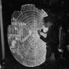 US Navy Technician Marking Radar Data on Chart, Tracking Enemy Japanese Ships in WWII Pacific!