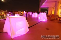 Use #uplighting to add a soft pink glow to #reception tables! #RentMyWedding