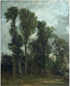 Trees at Hampstead: The Path to Church (Oil painting) by John Constable, 1821 (painted). Oil sketch of trees at Hampstead by Constable, England, century. Landscape Art, Landscape Paintings, Landscapes, John Constable Paintings, Oil Painting Trees, English Romantic, Victoria And Albert Museum, Beautiful Paintings, American Artists