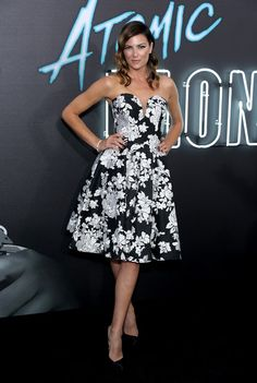 """Stunt woman Monique Ganderton attends Focus Features' """"Atomic Blonde"""" premiere at The Theatre at Ace Hotel on July 24, 2017 in Los Angeles, California."""