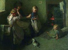 Laura Knight (English painter) 1877 - 1970 - Dressing the Children, ca. 1906