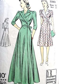 1940s GLAM HouseCoat Robe or Dress Pattern DuBARRY 2586B Classic Forties Side Wrap Lounging Hostess Gown or Short House Dress Bust 34 Vintage Sewing Pattern