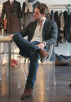 グレーツイードジャケット×ジーンズの着こなし(メンズ) | Italy Web