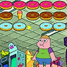 Clarence Eat The Donuts - https://www.funtime247.com/puzzles/clarence-eat-the-donuts/ - Fat Clarence loves to eat donuts of all flavors. In this game you have to get all the donuts to feed him. Use the arrow keys to move the skateboard. Good luck!