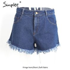 Simplee Denim shorts women buttoms Classic all-match fringe blue short jeans Casual 2017 summer beach sexy mini shorts pockets