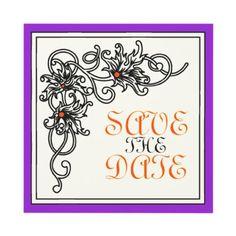 Flourish vine black #purple #orange #wedding Save the Date announcement. #SavetheDate