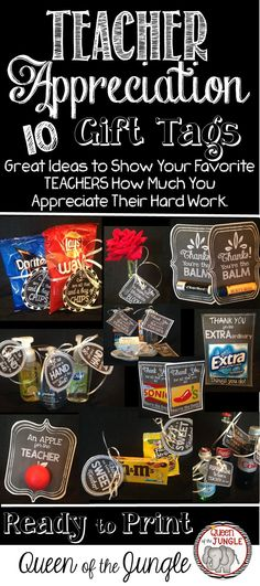 Teacher Appreciation Printable Gift Tags , Great for last minute Teacher Appreciation Week Gifts. 10 Gift tags in Chalkboard Theme to use with small tokens for your favorite teachers. Last Minute, Diy Gift For Bff, Diy Gifts, Small Teacher Gifts, Teacher Stuff, Halloween Teacher Gifts, Staff Gifts, Teacher Appreciation Week, Employee Appreciation