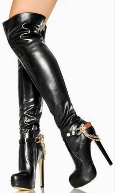 Thigh High Boots Heels, Platform High Heels, Black High Heels, Heeled Boots, High Leather Boots, Black Leather Gloves, Sexy Boots, Black Boots, Designer Boots