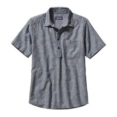 PATAGONIA MEN'S BACK STEP PULLOVER SHIRT | $69  This airy short-sleeved pullover shirt is made of a lightweight hemp and organic cotton blend that is cool wearing for warm-weather comfort.