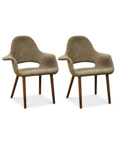 Caleb Set of 2 Twill Mid- Century Modern Accent Chair, Quick Ship - Dark Brown