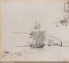 Jonkind Johan (Jean) Barthold,Recto: Un brick en rade;  étude subsidiaire de bateau / Verso: Un bateau, Christie's, Paris
