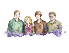 Professional watercolor family portraits..A Must have!