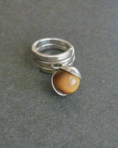Sterling Modernist Elis Kauppi Dangle Ring Finland