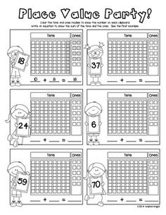 "Sample page from ""LET'S PRACTICE PLACE VALUE! {STUDENT WORKSHEETS FOR GRADES 1-2}"" 28 pages, $ #placevalue"